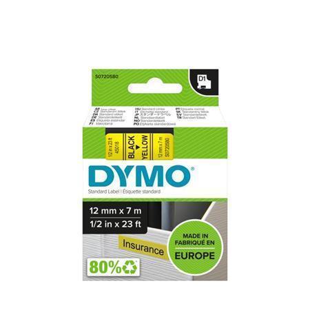 """Páska, 12 mm x 7 m, DYMO """"D1"""", žlutá-černá"""