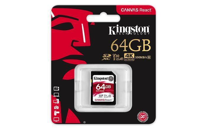 "Paměťová karta ""Canvas React"", SDXC, 64GB, C10/U3/V30/A1, 100/80 MB/s, KINGSTON"