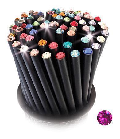 Grafitová tužka, SWAROVSKI® Crystals, jasná růžová, 17cm, černá Počet kusů v balení: 5