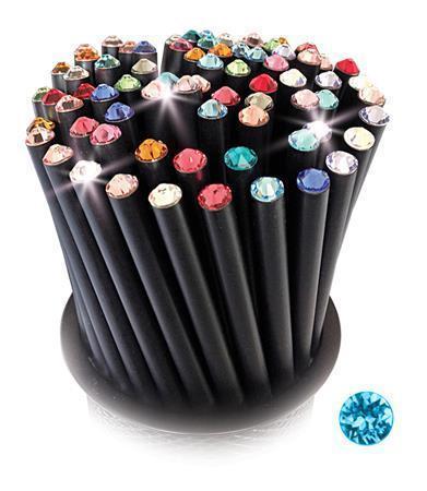 Grafitová tužka, SWAROVSKI® Crystals, aqua blue, 17cm, černá Počet kusů v balení: 5