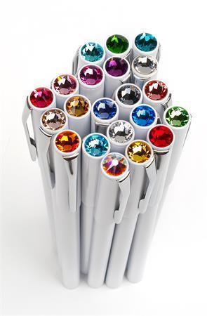 Kuličkové pero, SWAROVSKI® Crystals, mix barev, 20 ks