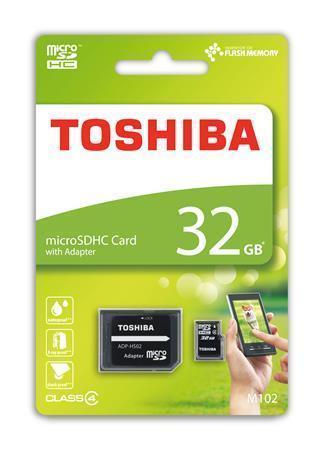 SecureDigital SDHC 32GB mikro paměťová karta, Class 4, s adaptérem, TOSHIBA