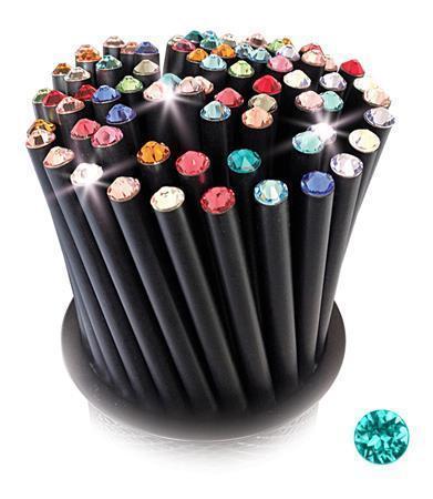 Grafitová tužka, SWAROVSKI® Crystals, světle tyrkysová, 17cm, černá Počet kusů v balení: 5