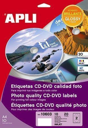 """Etikety na CD/DVD """"Mega"""", lesklé, A4, vnější průměr 114mm, vnitřní průměr 18mm, APLI"""