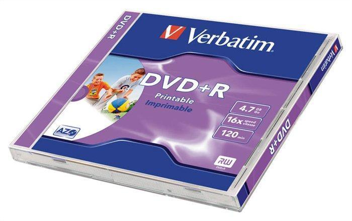 DVD+R 4,7GB, 16x, Printable, Verbatim, jewel box