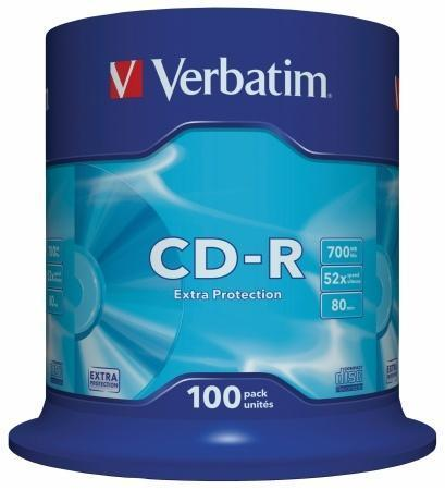 CD-R 700MB, 80min., 52x, DL Extra Protection, Verbatim, 100-cake