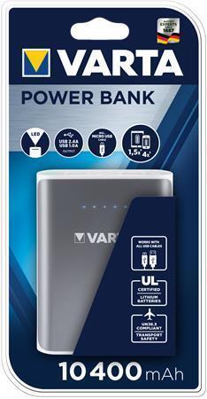 "Powerbank ""Powerpack 10400"", šedá, 2 x USB, 10400 mAh, VARTA"