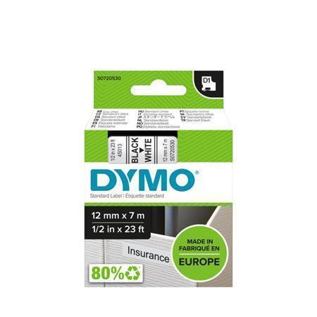 "Páska, 12 mm x 7 m, DYMO ""D1"", bílá-černá"
