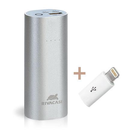"""Power bank - přenosná baterie """"VA1005"""", stříbrná, vstup: lightning a microUSB, 5000mAh, RIVACASE"""