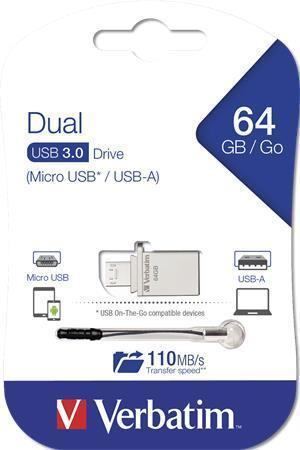 "USB flash disk ""Micro"", 64GB, USB 3.0+micro USB adapter, Micro USB, VERBATIM"