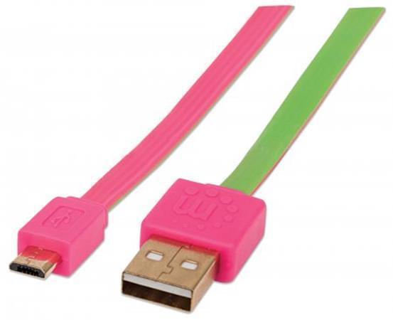 USB - micro USB kabel, 1 m, nezamotá se, růžovo-zelená, MANHATTAN